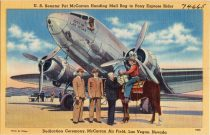 Postcard from 1941 showing Senator McCarran at the original airport field