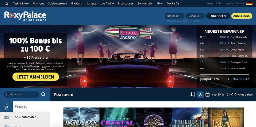 Roxy Palace Casino Homepage