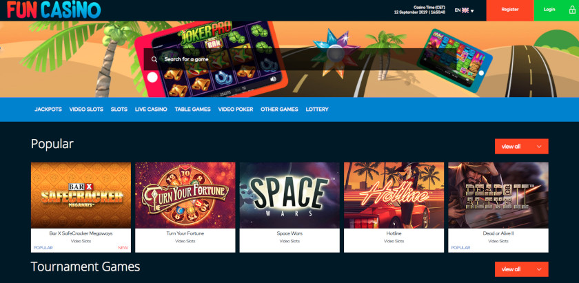 Fun Casino Homepage UK