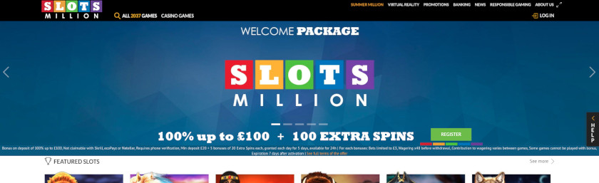 SlotsMillion Homepage UK